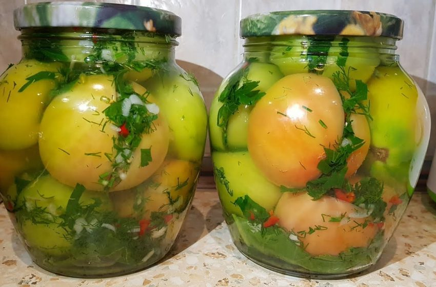 Зелёные помидоры по-кавказски на зиму