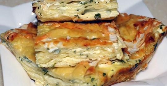 Очень вкусный и нежный сырный пирог из лаваша